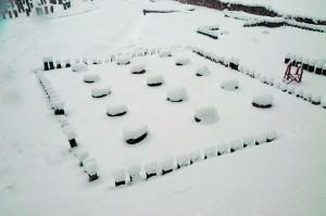 Templul mic patrulater de andezit, iarna